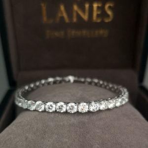 11.94 Carat Diamond Line White Gold Bracelet