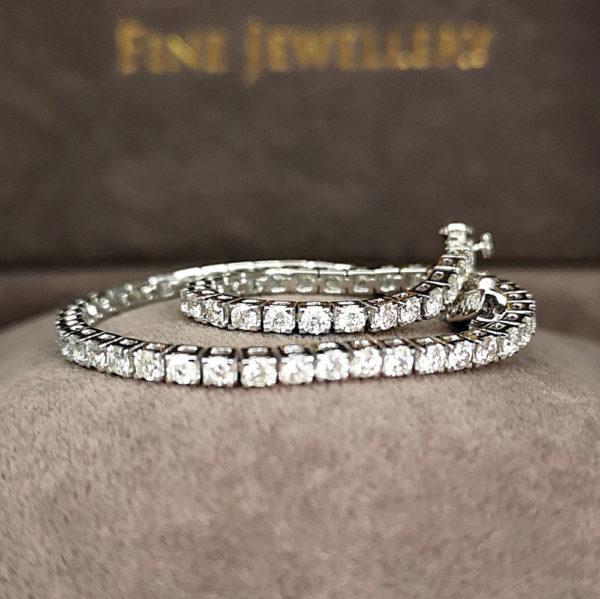 2.25 Carat Diamond Line White Gold Bracelet
