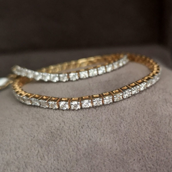 2.40 Carat Diamond Line Yellow Gold Bracelet - Made to Order