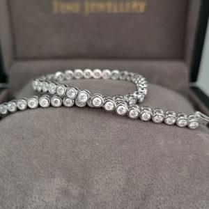 2.54 Carat Diamond Rub-Over Line White Gold Bracelet