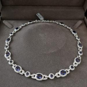 20.15 Carat Iolite & Diamond Collarette Necklace