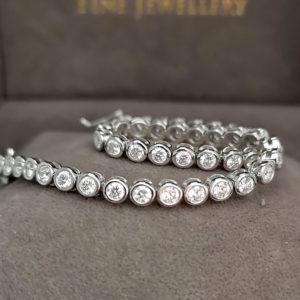3.26 Carat Diamond Rub-Over Line White Gold Bracelet