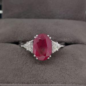 3.35 Carat Oval Shaped Ruby & Diamond Dress Ring