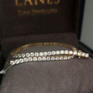 4.40 Carat Diamond Line Yellow Gold Bracelet