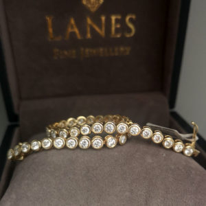 4.62 Carat Diamond Rub-Over Line Yellow Gold Bracelet