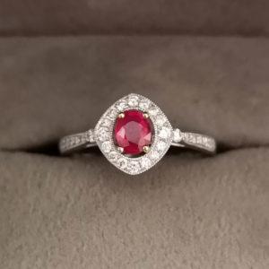 Art Deco Style Oval Shaped Ruby & Diamond Dress Ring