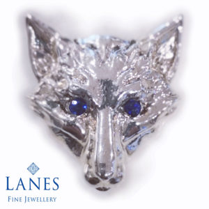 Leicester City Football Club silver & sapphire fox pin