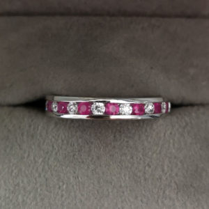 Ruby & Diamond Channel Set Diamond Ring