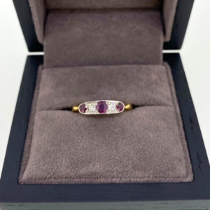 Vintage Style Five Stone Ruby & Diamond Ring in Yellow & White Gold